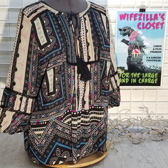Democracy Patchwork and Lace Blouse Size 1x